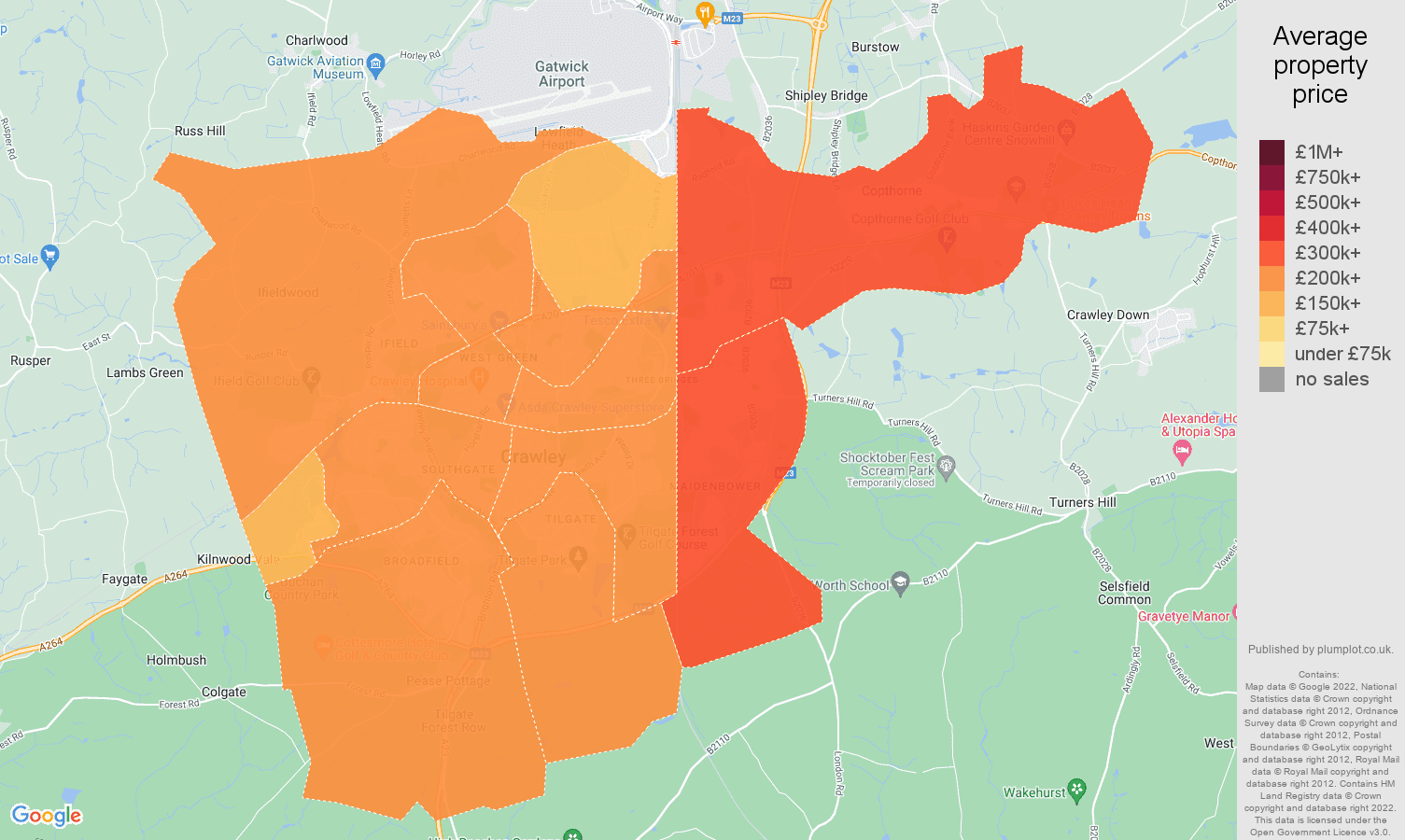 Crawley house prices map
