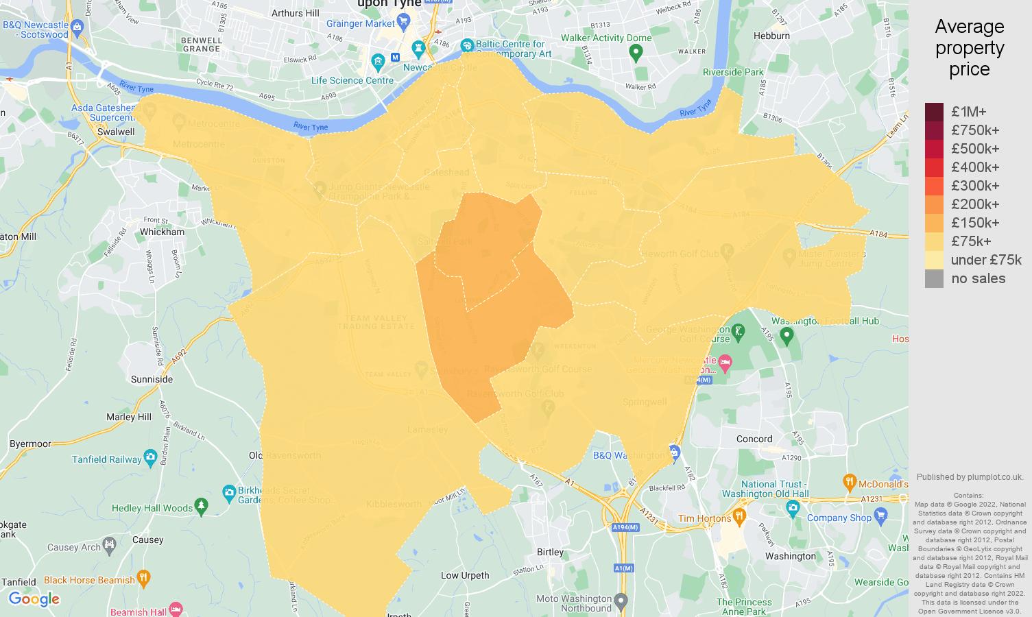 Gateshead house prices map