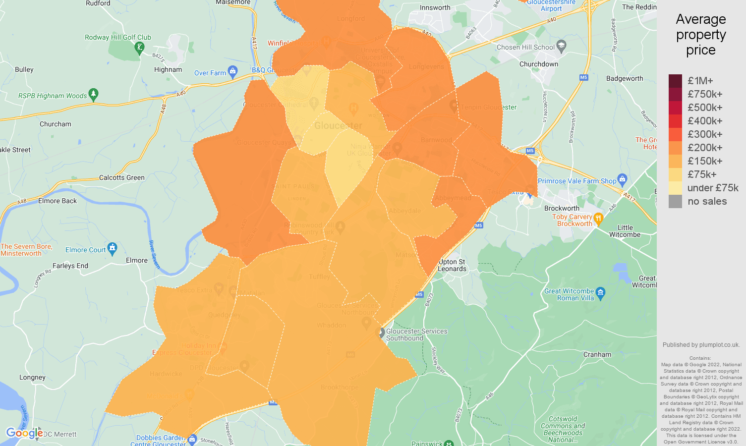 Gloucester house prices map