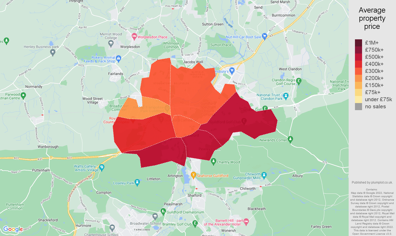 Guildford house prices map