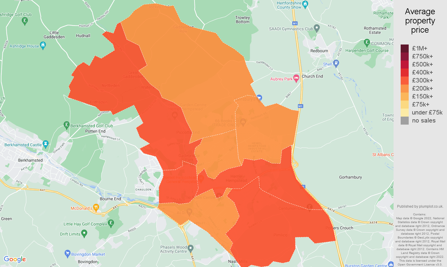 Hemel Hempstead house prices map