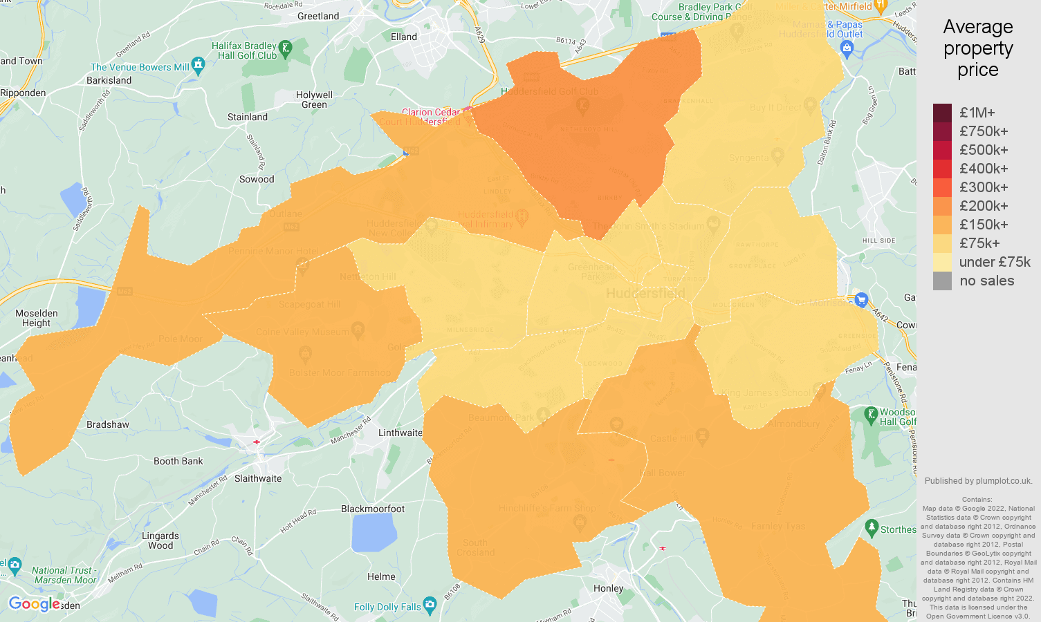Huddersfield house prices map