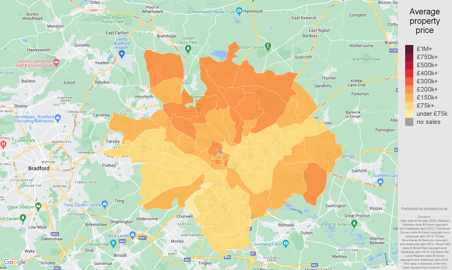 Leeds house prices map