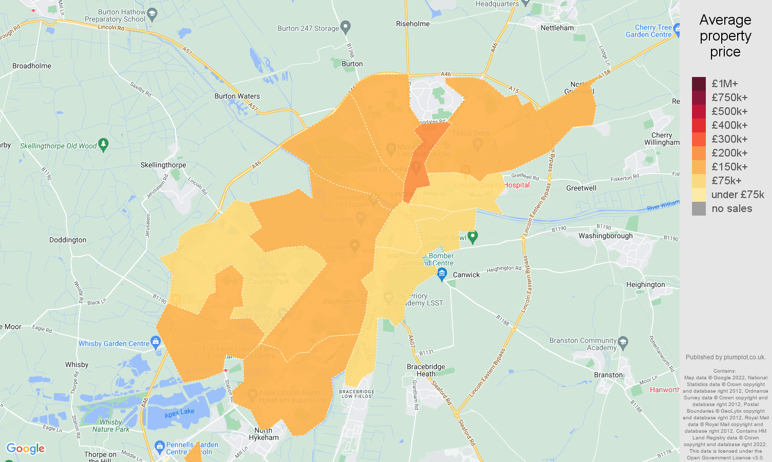 Lincoln house prices map