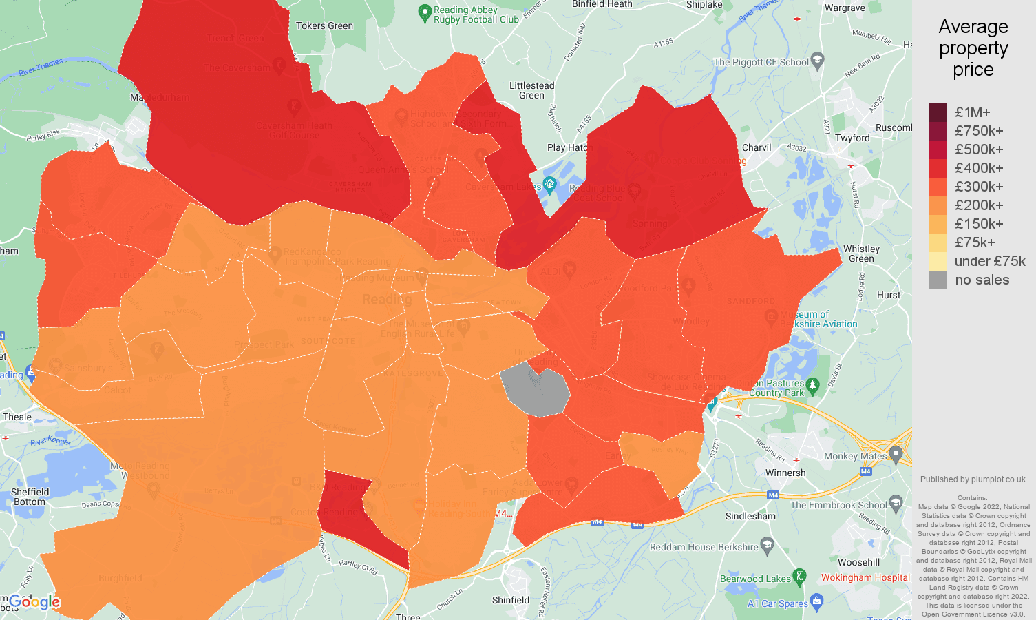Reading house prices map