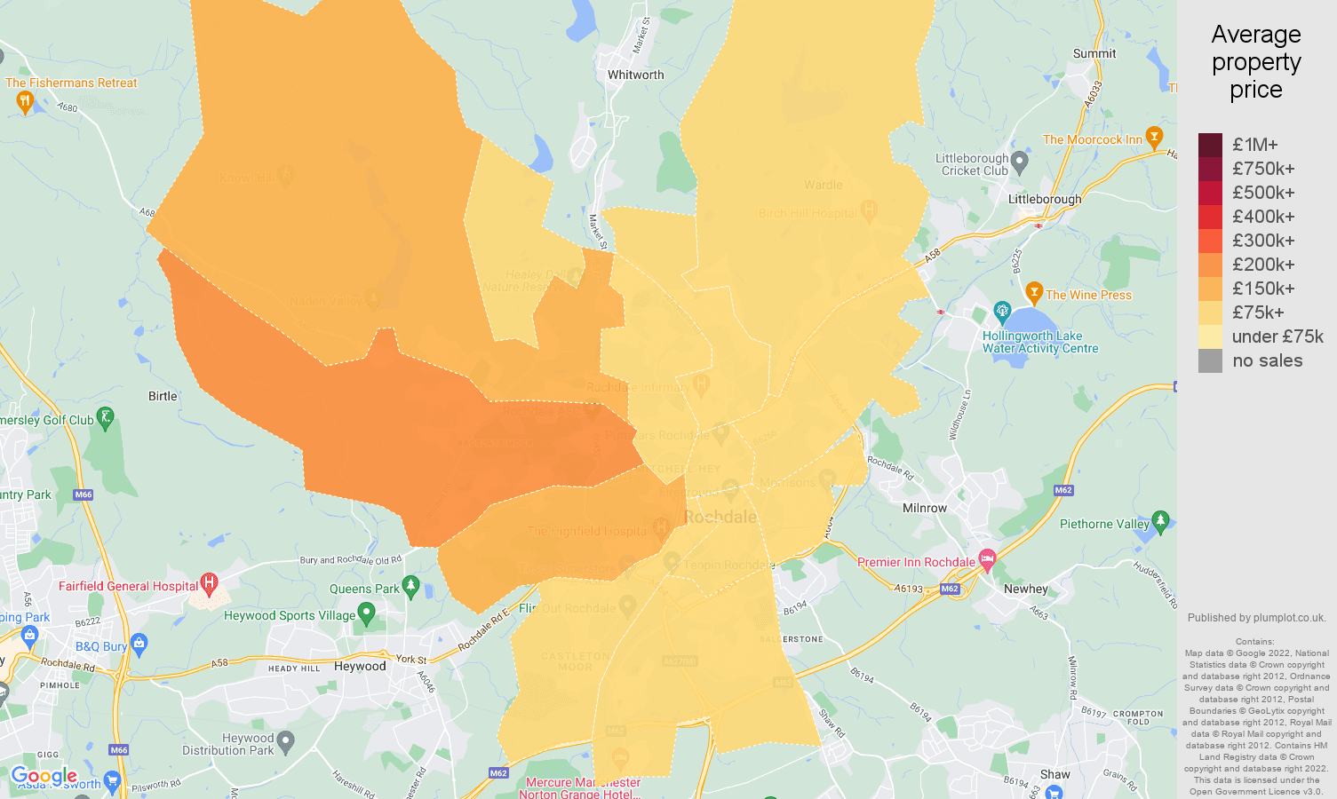 Rochdale house prices map