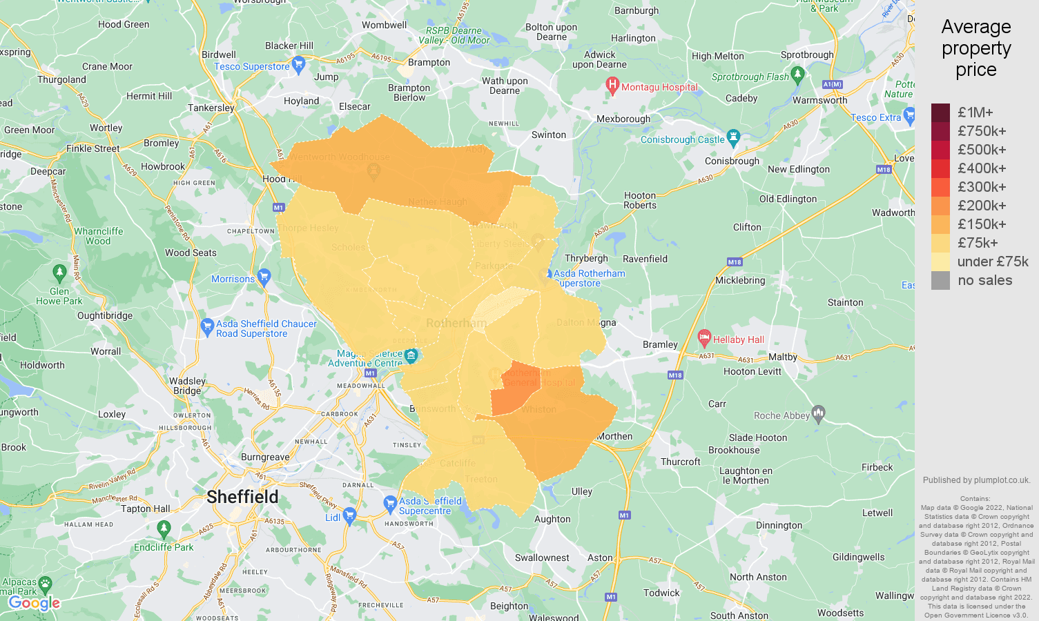 Rotherham house prices map