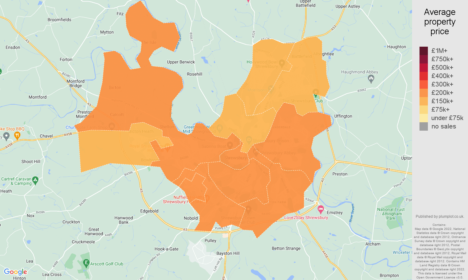 Shrewsbury house prices map
