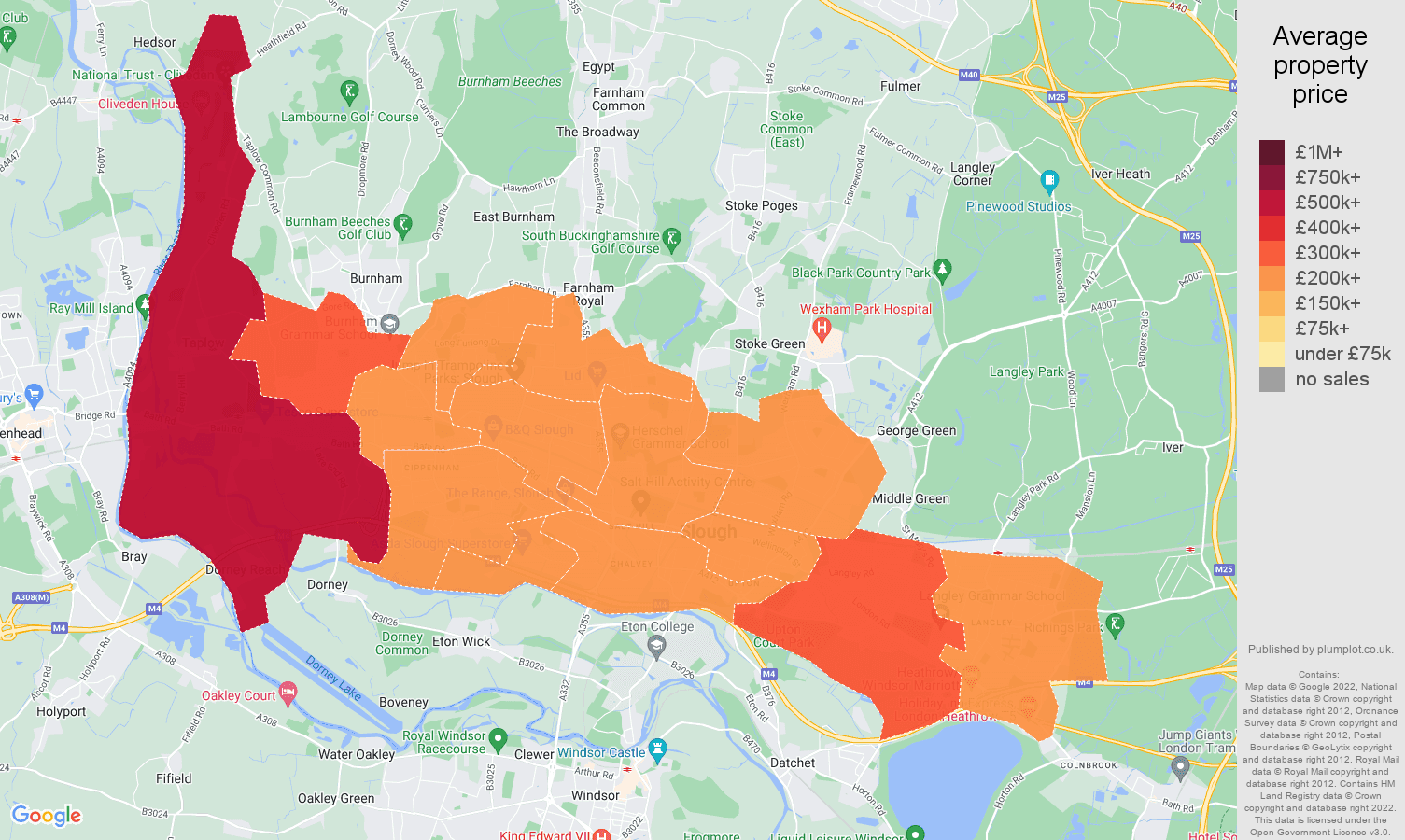 Slough house prices map