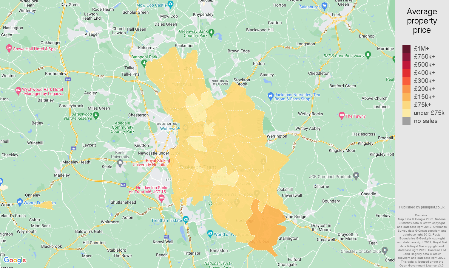 Stoke on Trent house prices map