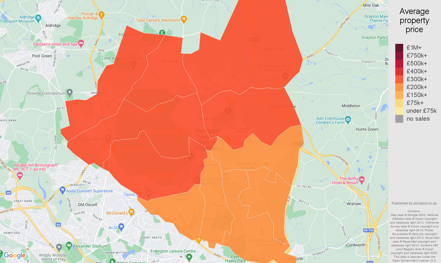 Sutton Coldfield house prices map