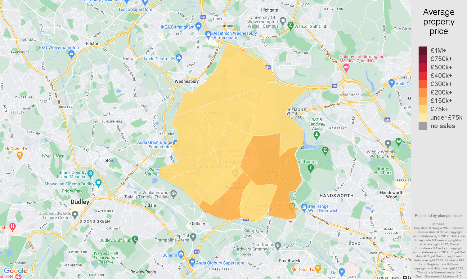 West Bromwich house prices map