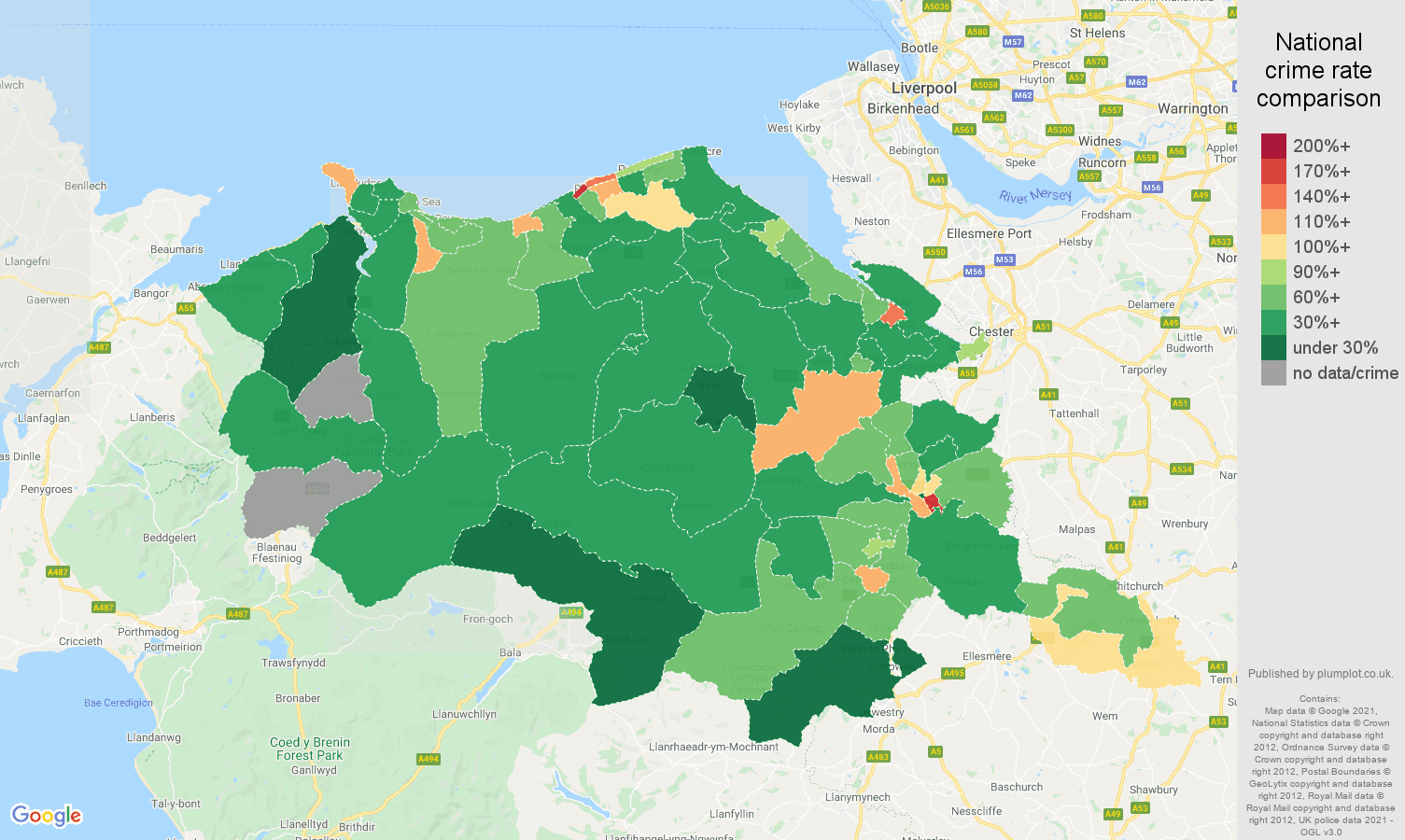 Clwyd burglary crime rate comparison map