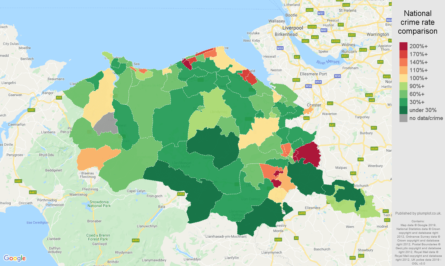 Clwyd other crime rate comparison map