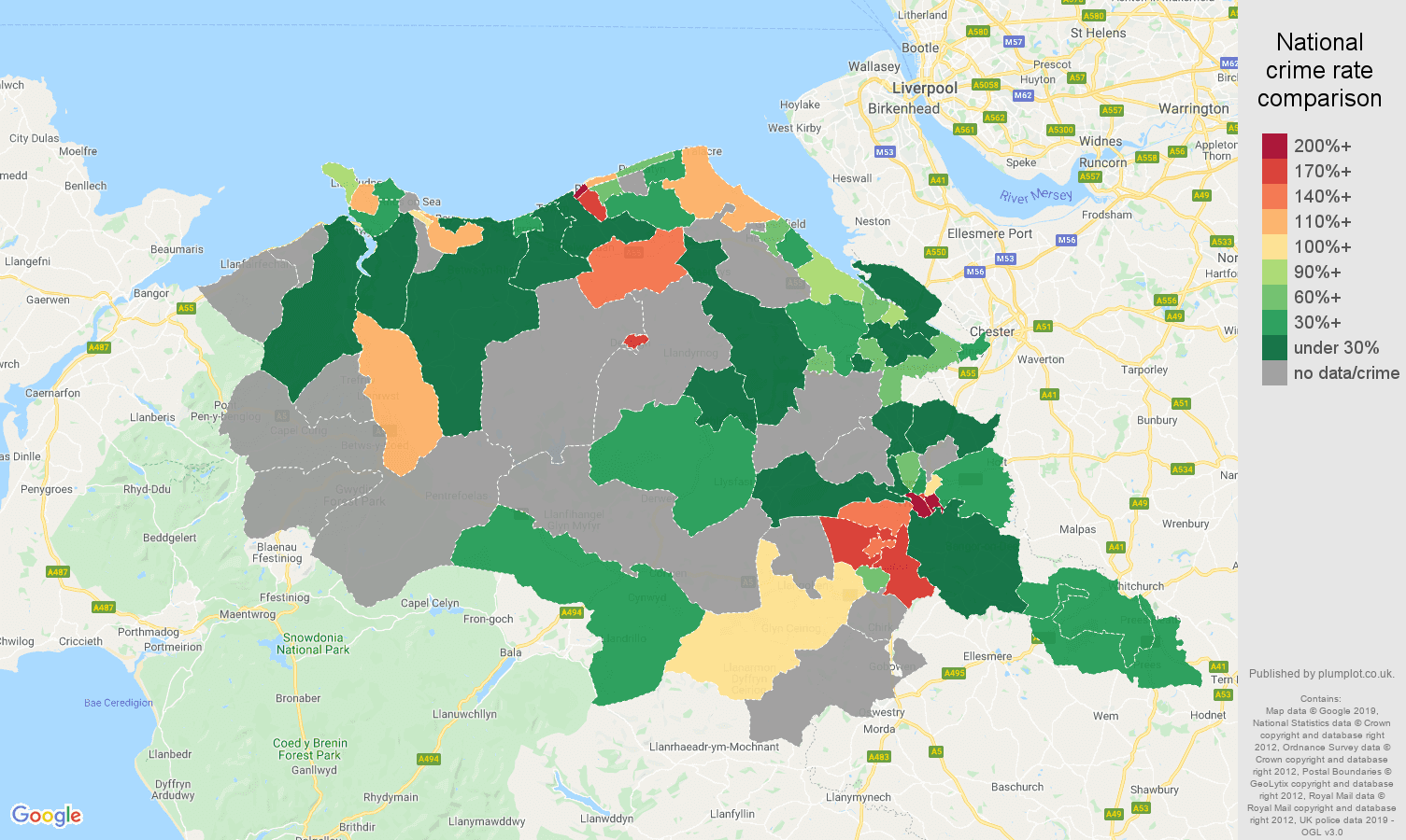 Clwyd possession of weapons crime rate comparison map