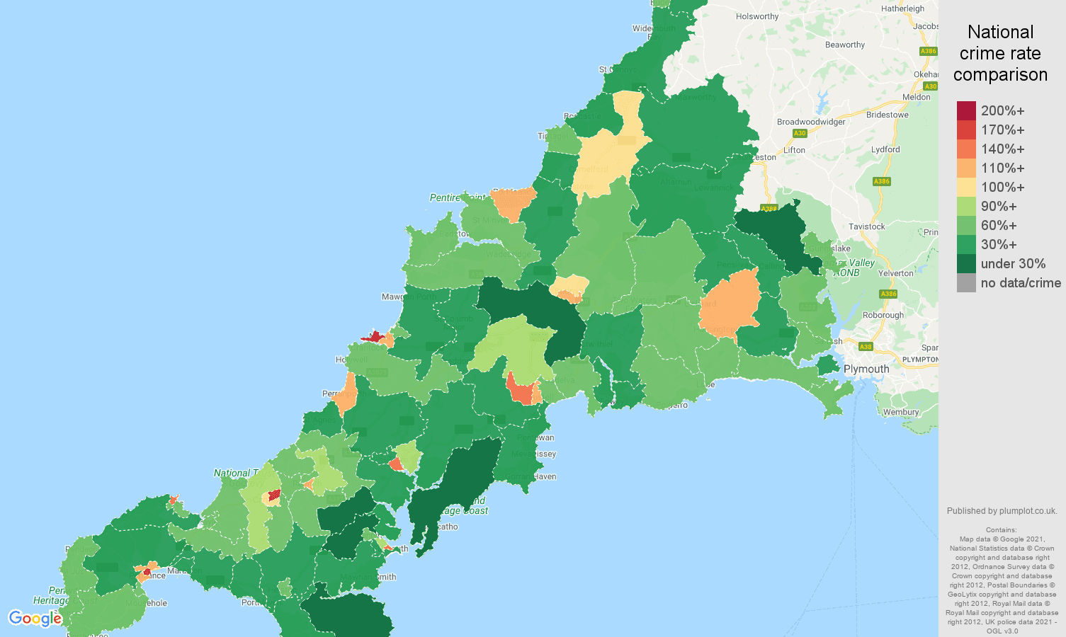 Cornwall antisocial behaviour crime rate comparison map