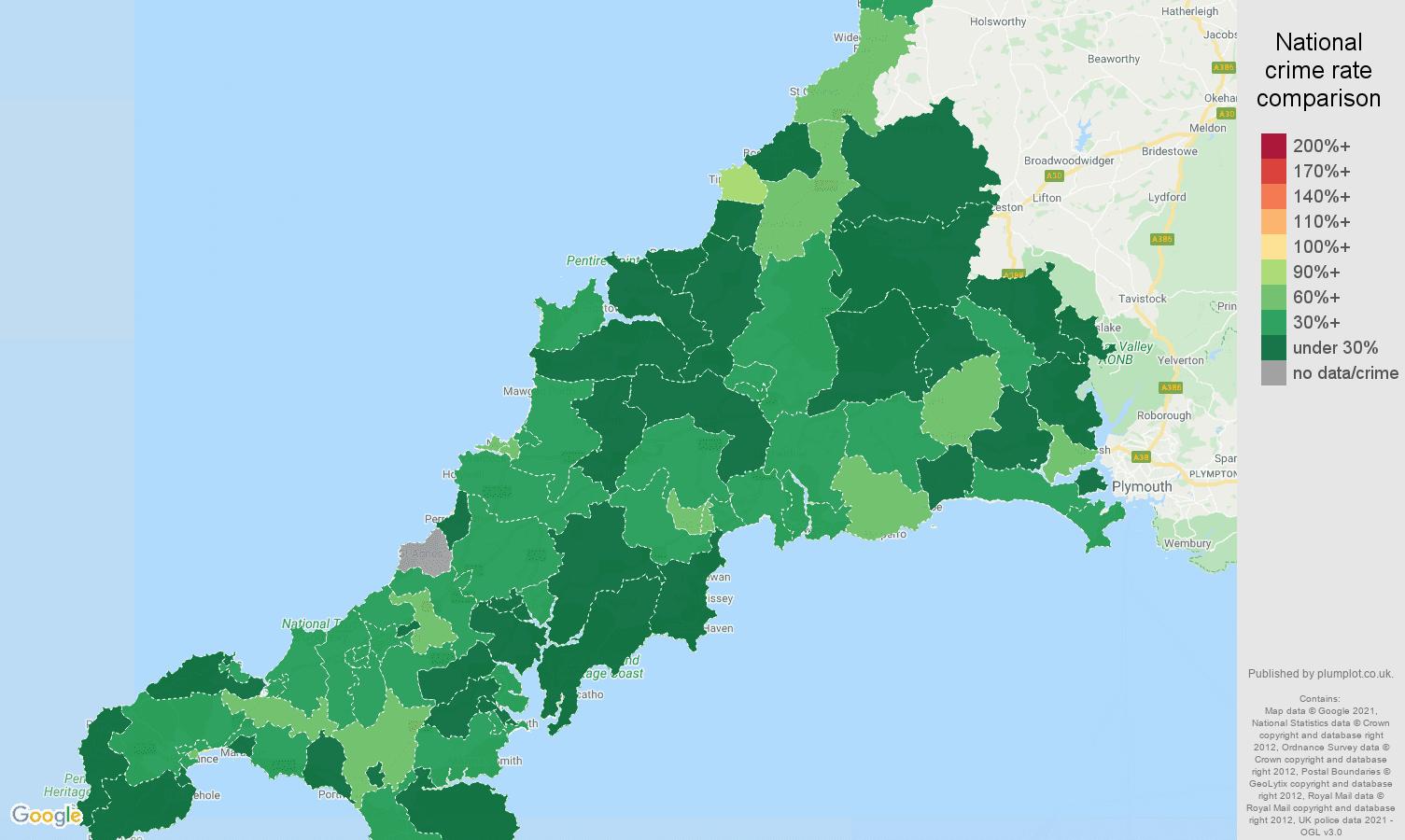 Cornwall burglary crime rate comparison map