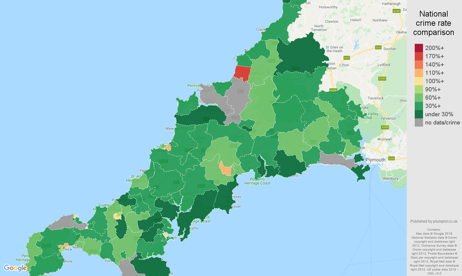 Cornwall other crime rate comparison map