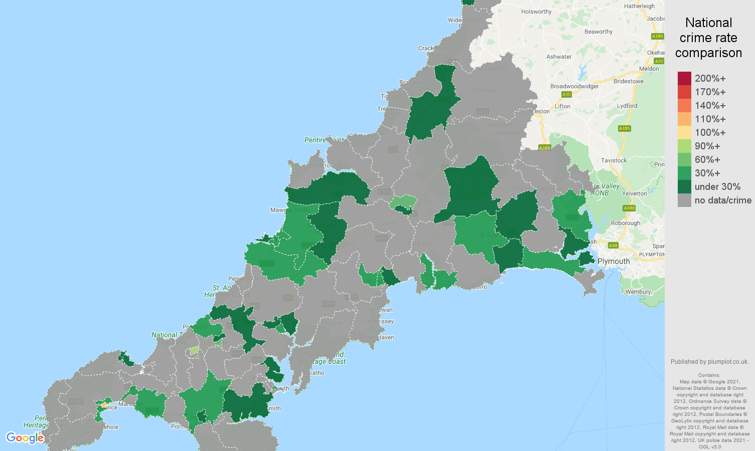 Cornwall robbery crime rate comparison map