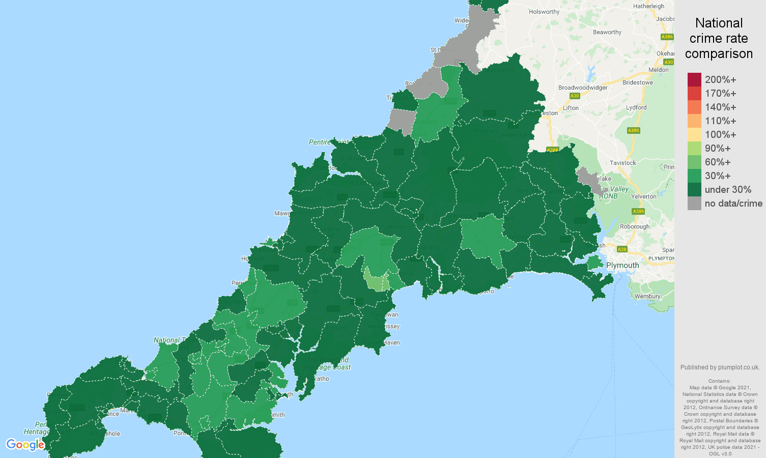 Cornwall vehicle crime rate comparison map