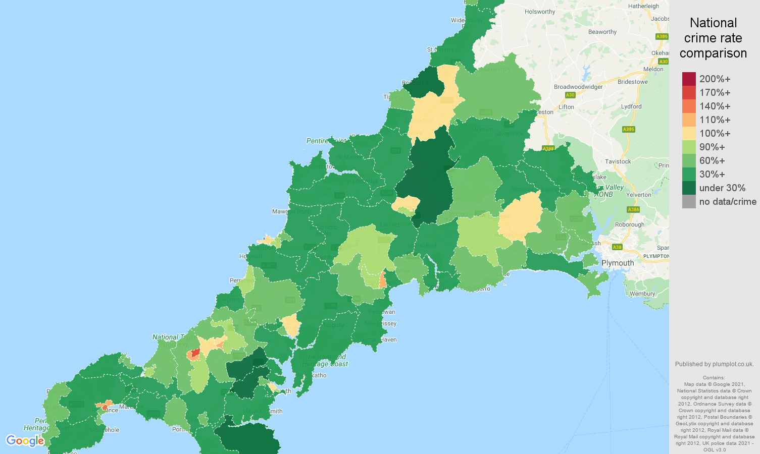 Cornwall violent crime rate comparison map