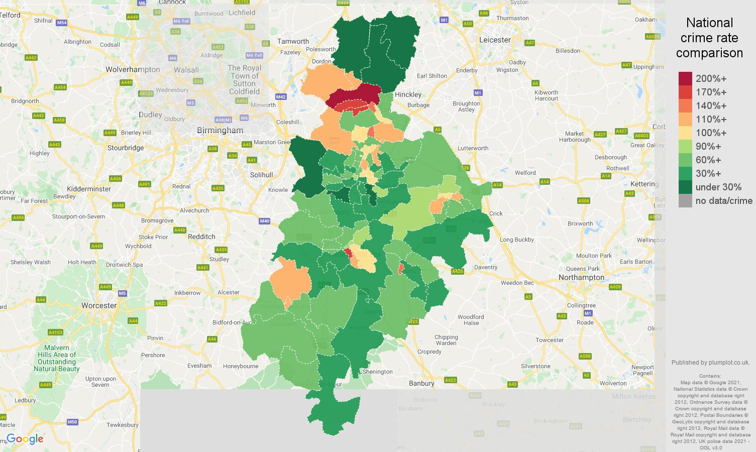 Coventry antisocial behaviour crime rate comparison map