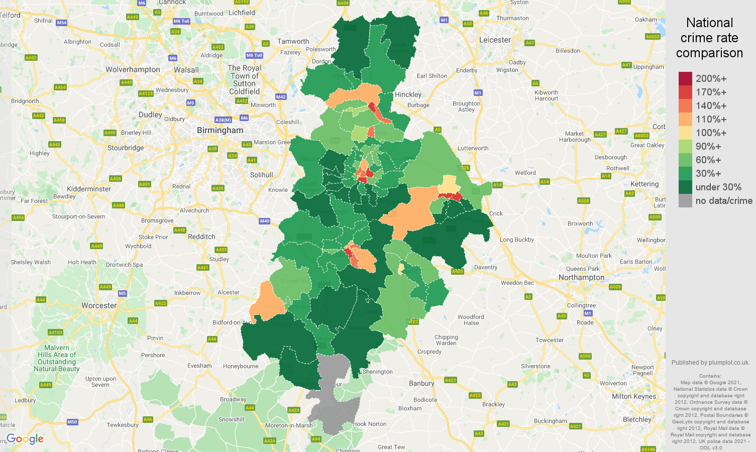 Coventry drugs crime rate comparison map