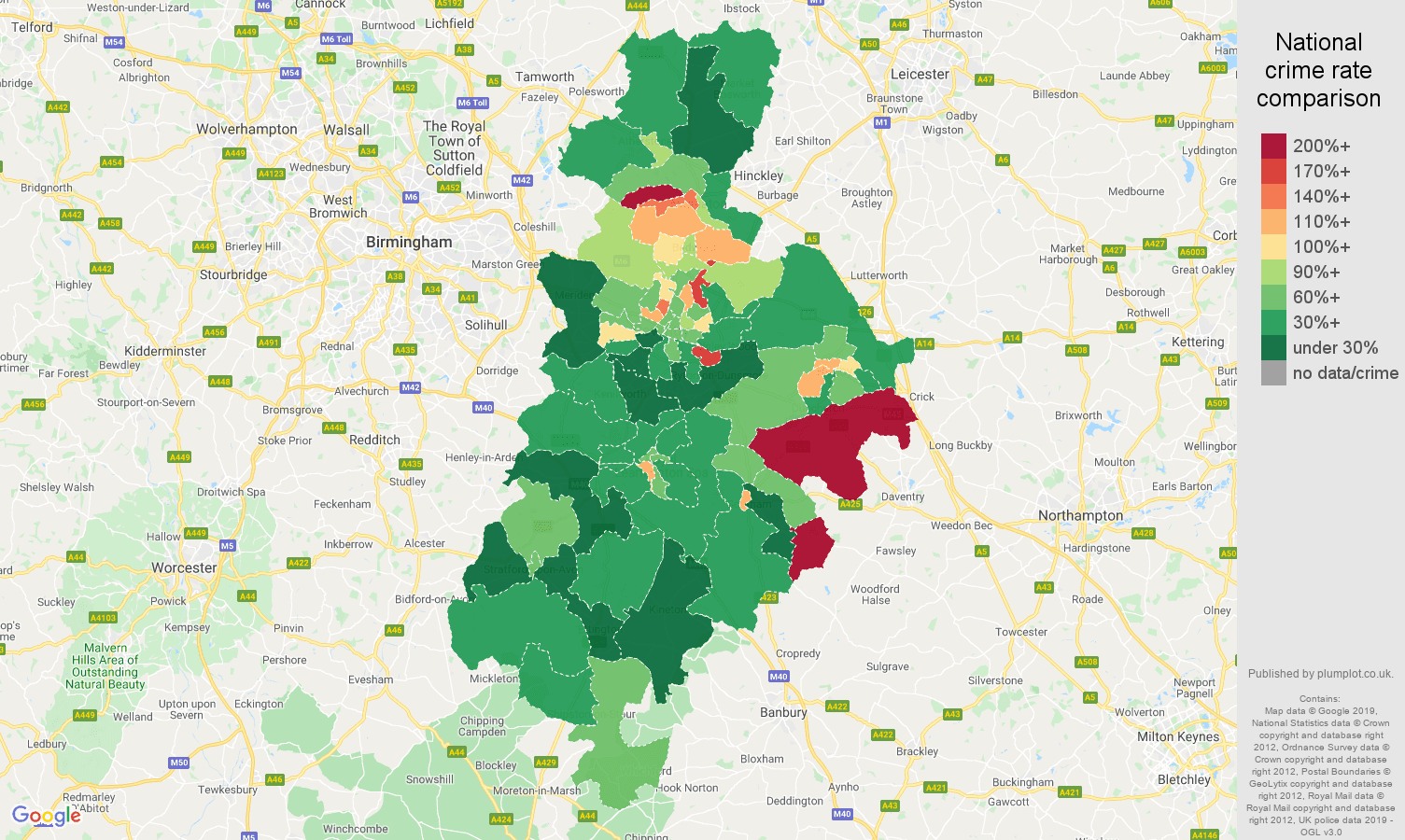 Coventry other crime rate comparison map