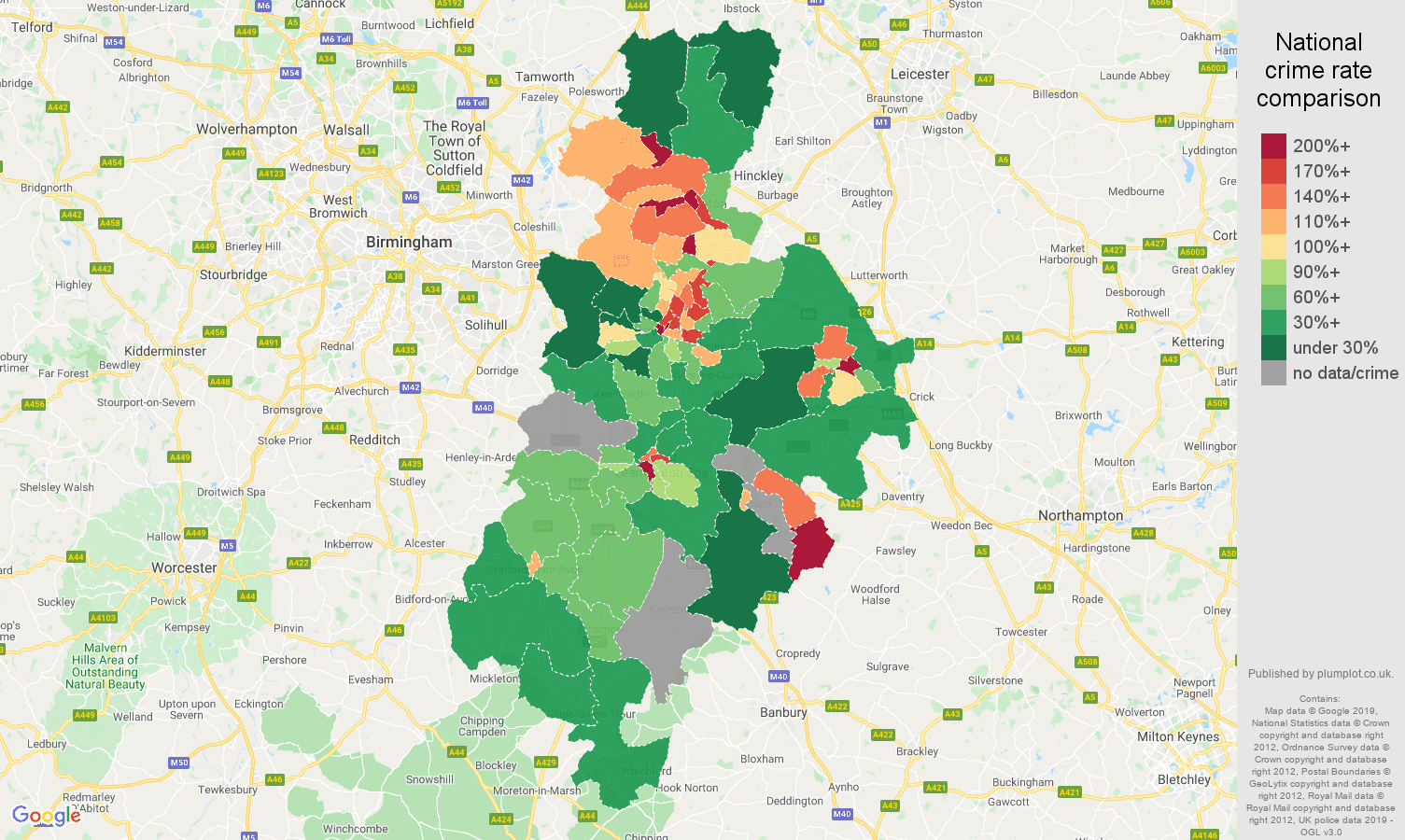 Coventry possession of weapons crime rate comparison map
