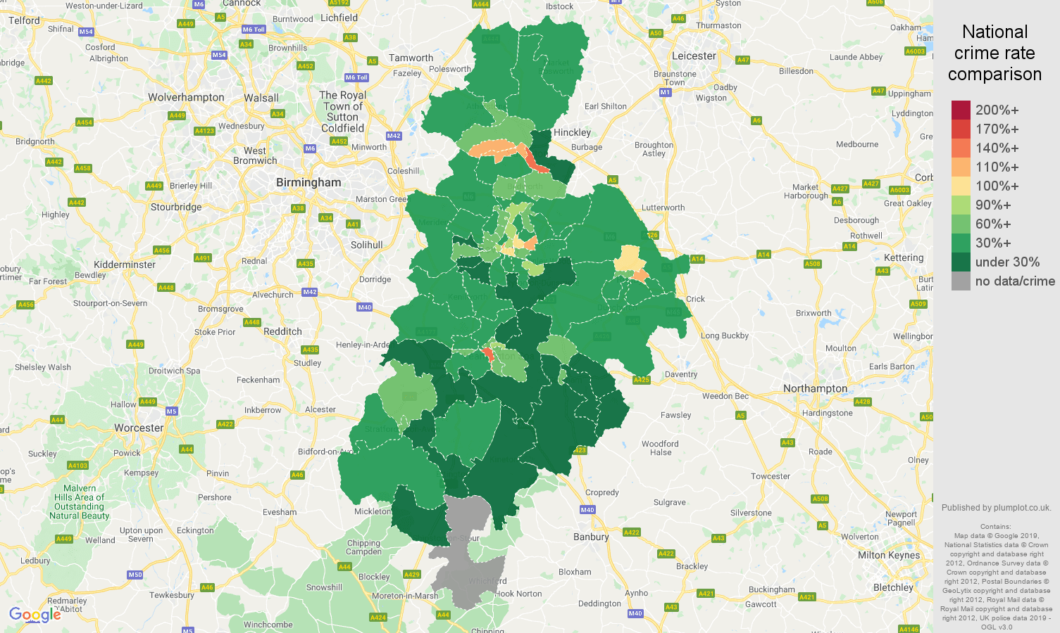 Coventry public order crime rate comparison map