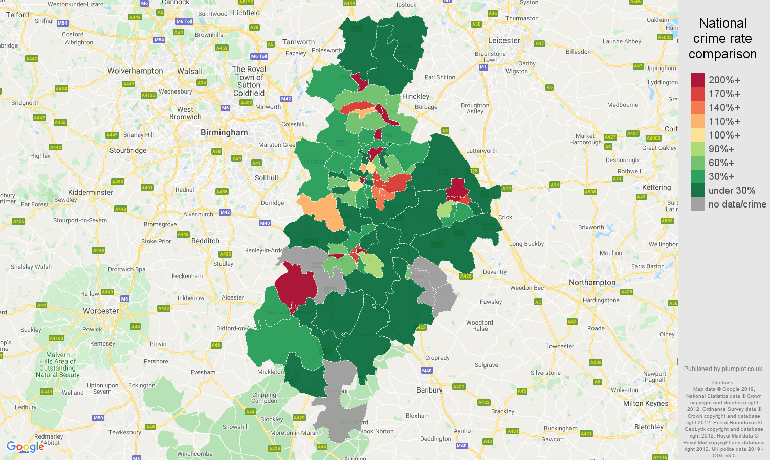 Coventry shoplifting crime rate comparison map