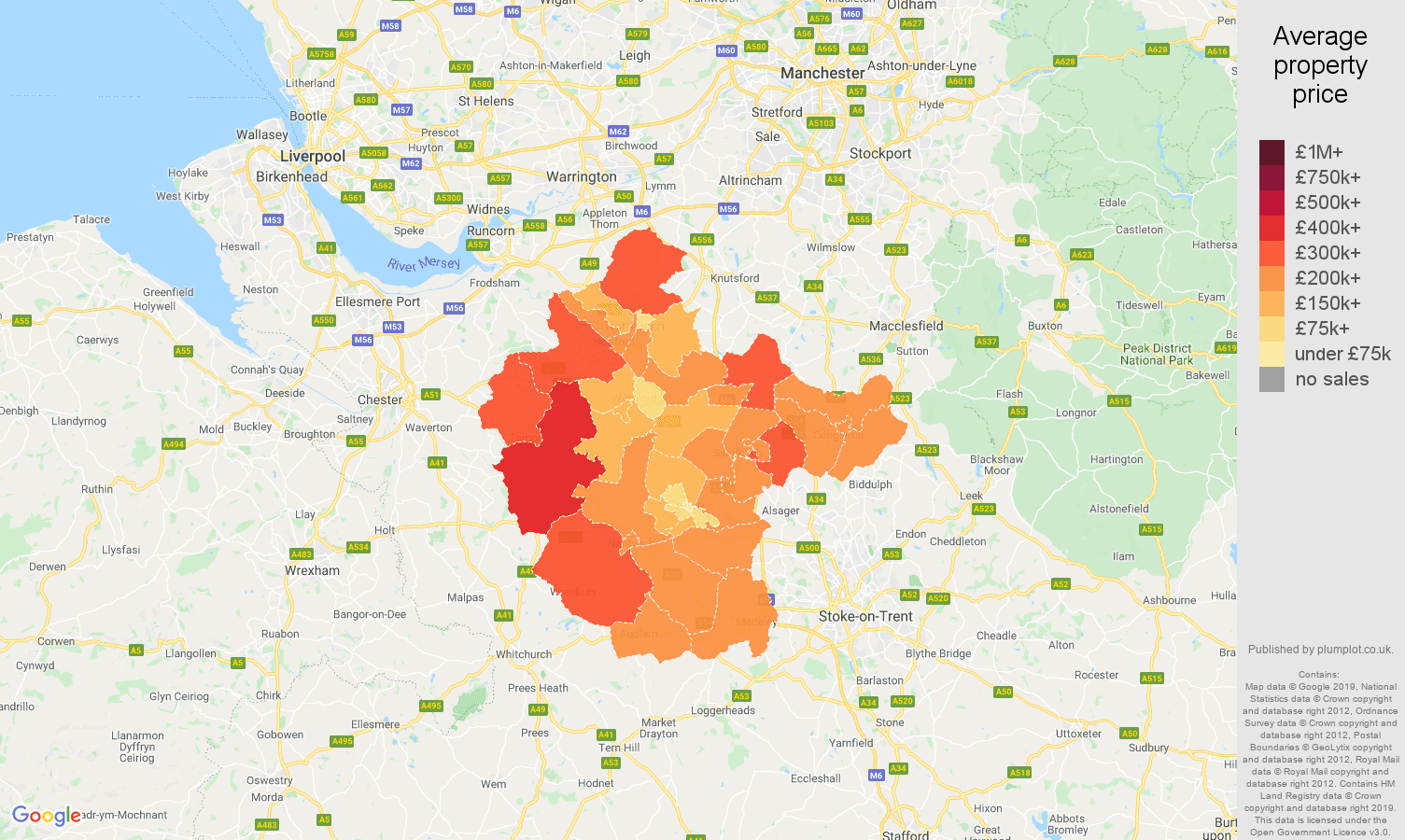 Crewe house prices map