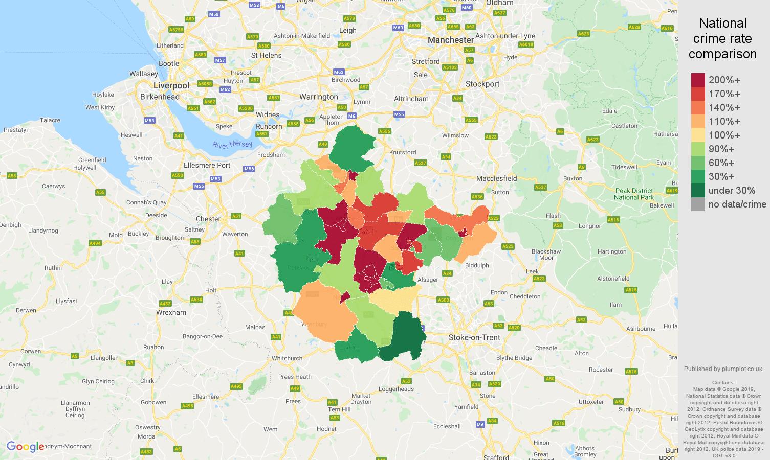 Crewe public order crime rate comparison map