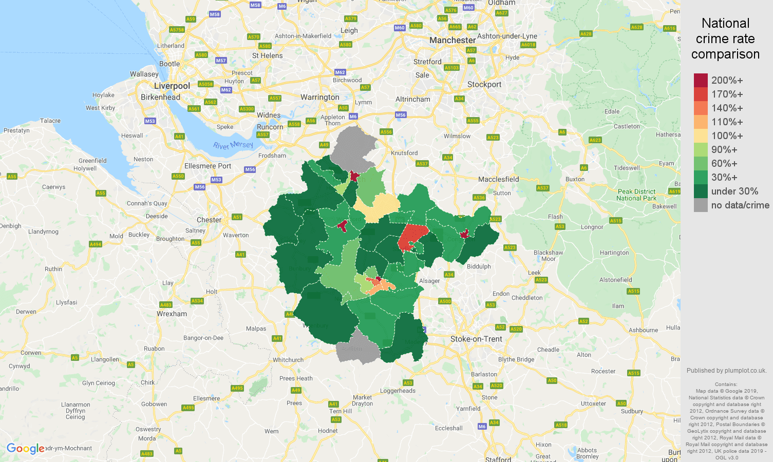 Crewe shoplifting crime rate comparison map