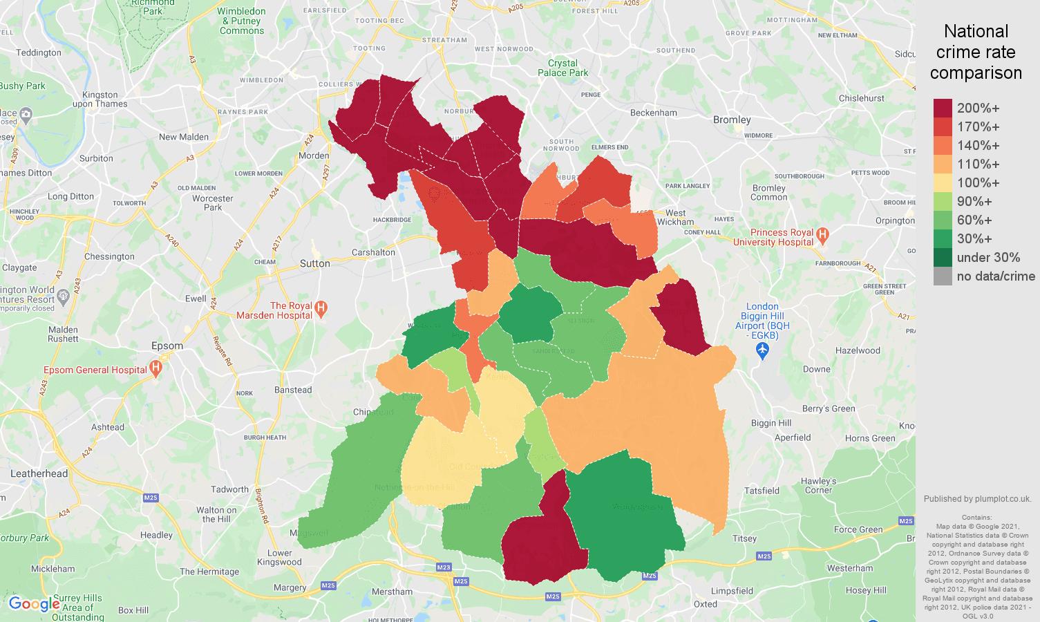Croydon drugs crime rate comparison map