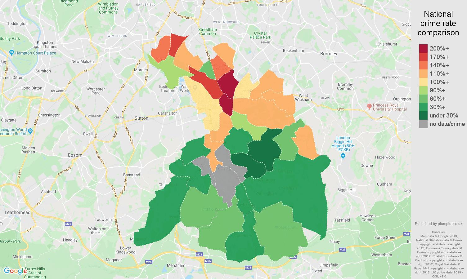 Croydon possession of weapons crime rate comparison map