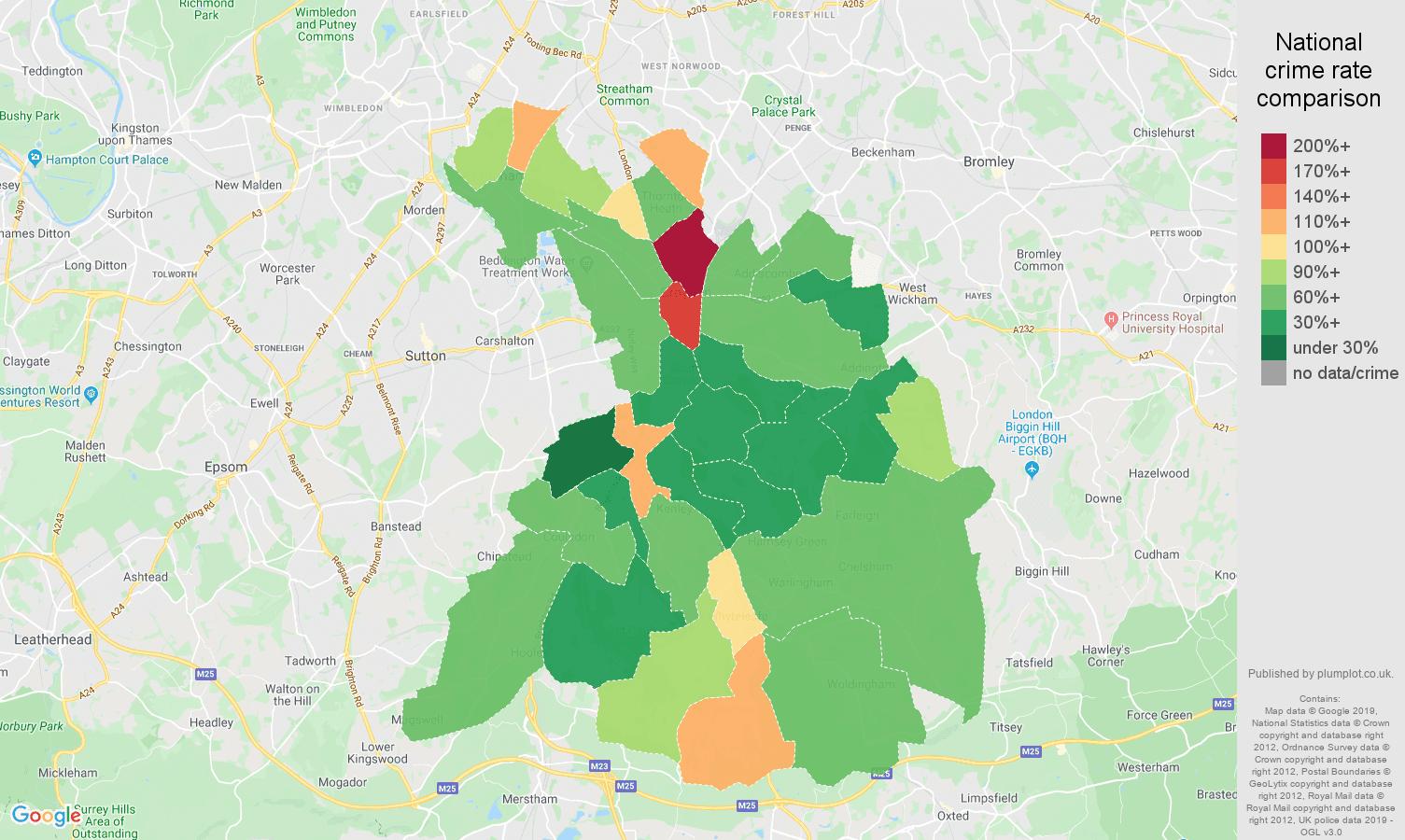 Croydon public order crime rate comparison map