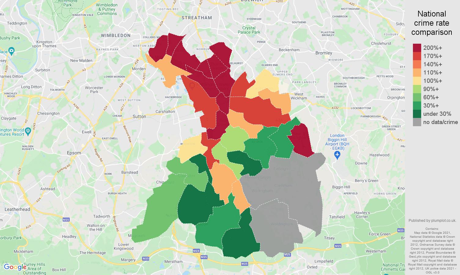 Croydon robbery crime rate comparison map