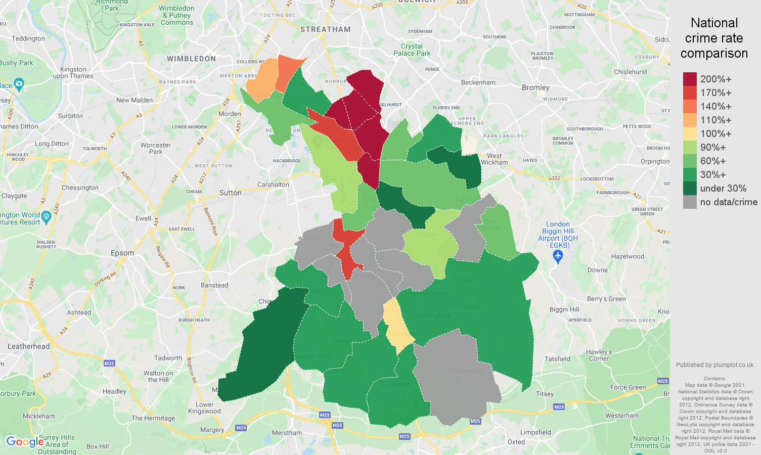 Croydon theft from the person crime rate comparison map