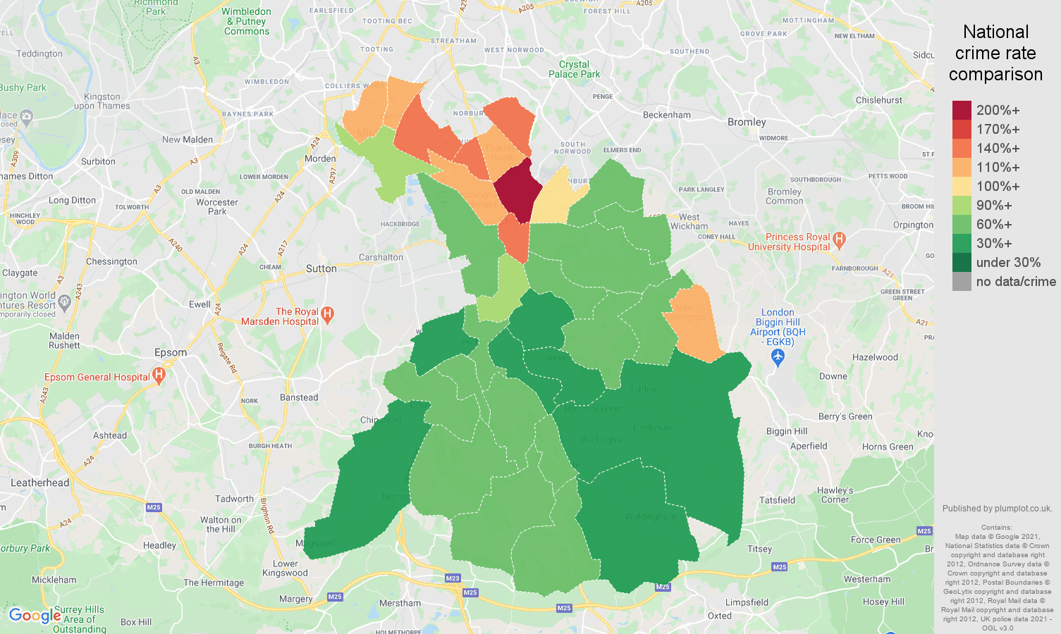 Croydon violent crime rate comparison map
