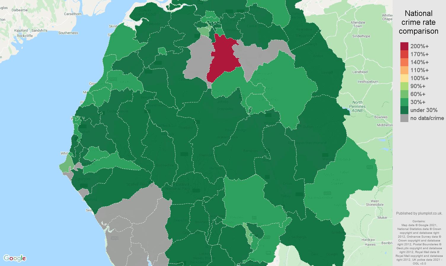 Cumbria vehicle crime rate comparison map