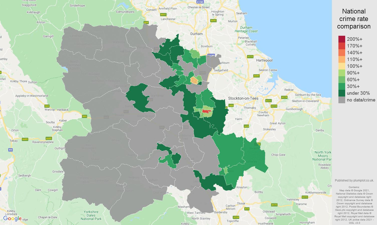 Darlington bicycle theft crime rate comparison map