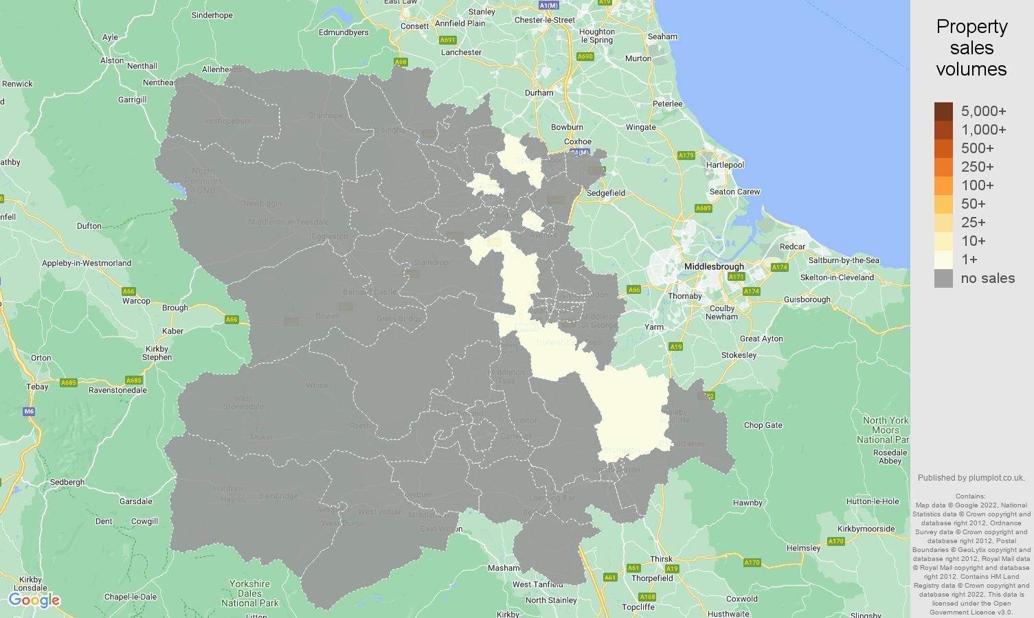 Darlington map of sales of new properties