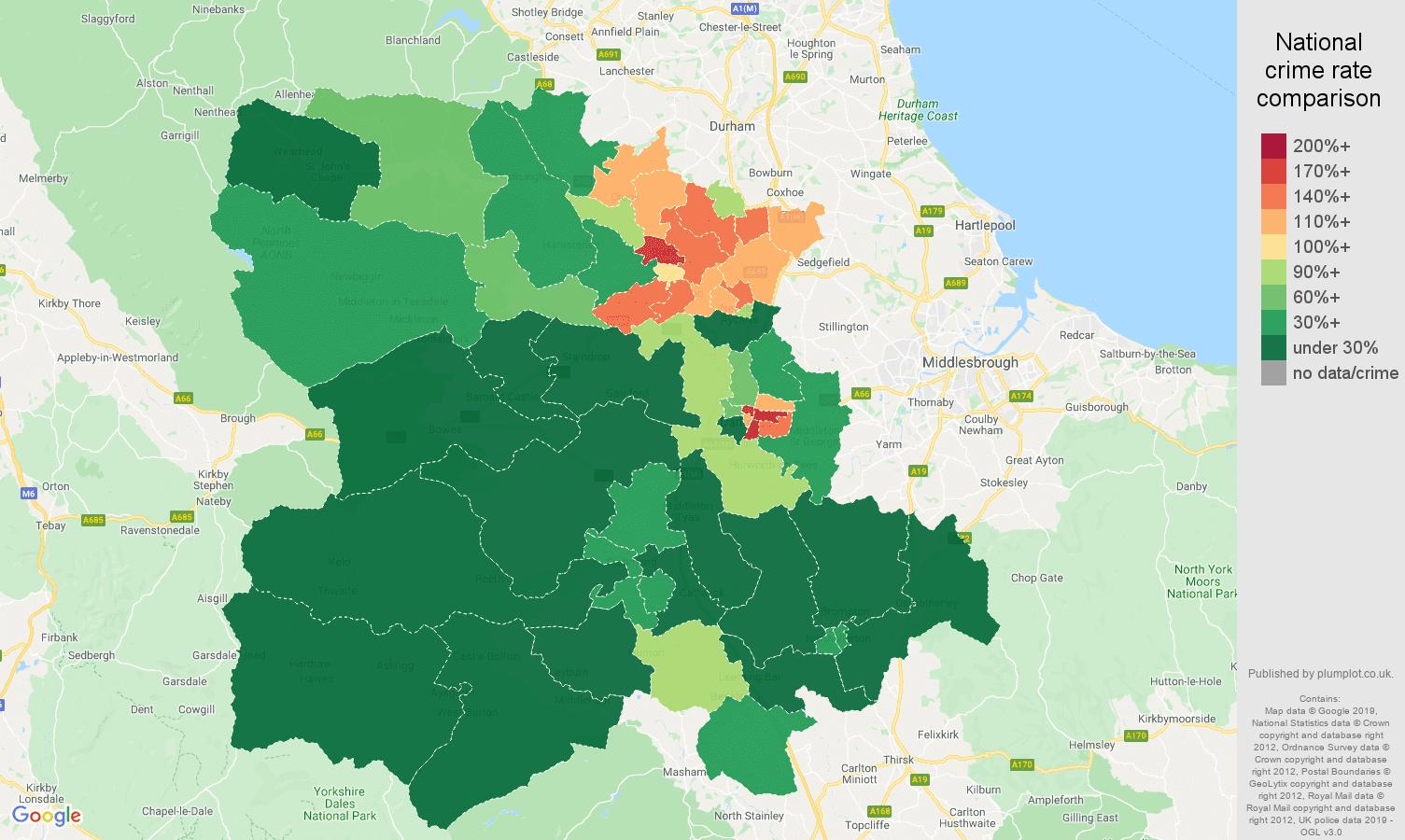 Darlington public order crime rate comparison map