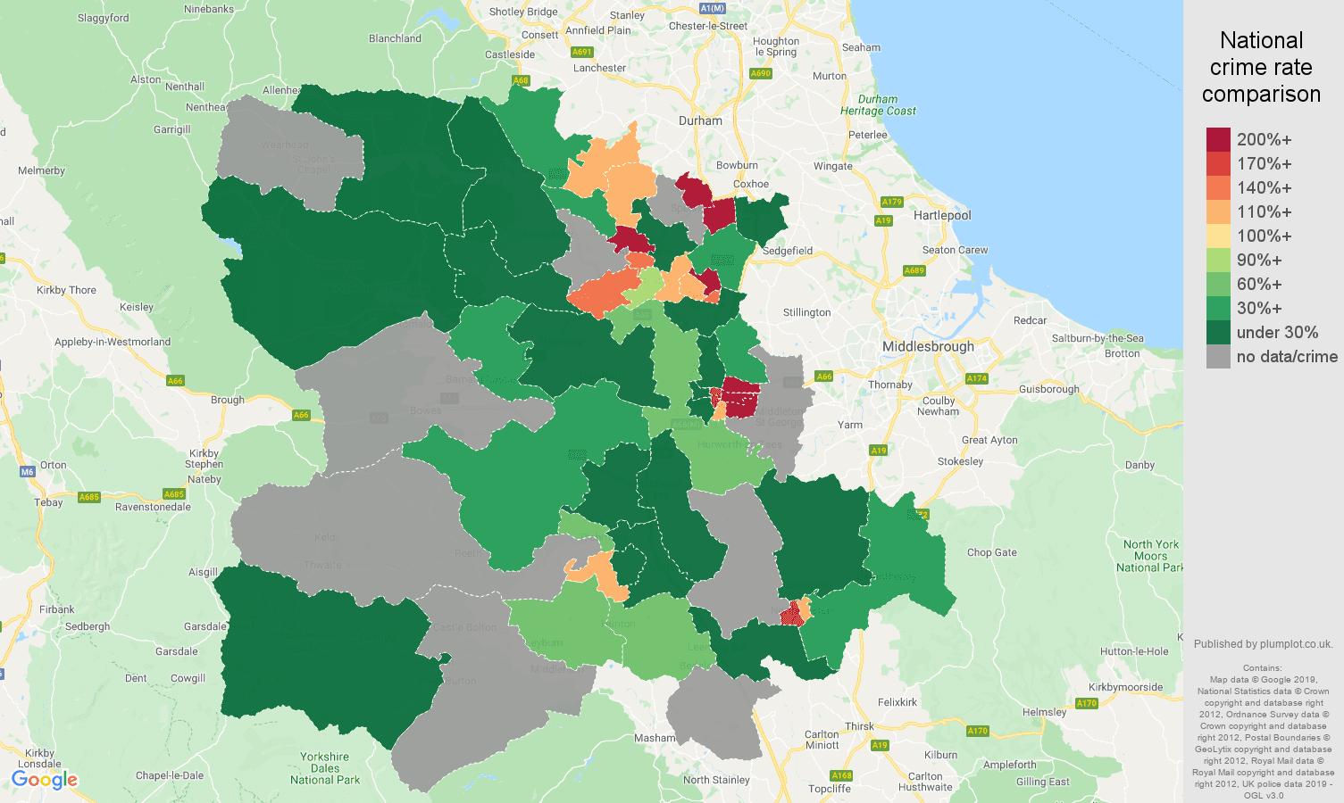 Darlington shoplifting crime rate comparison map