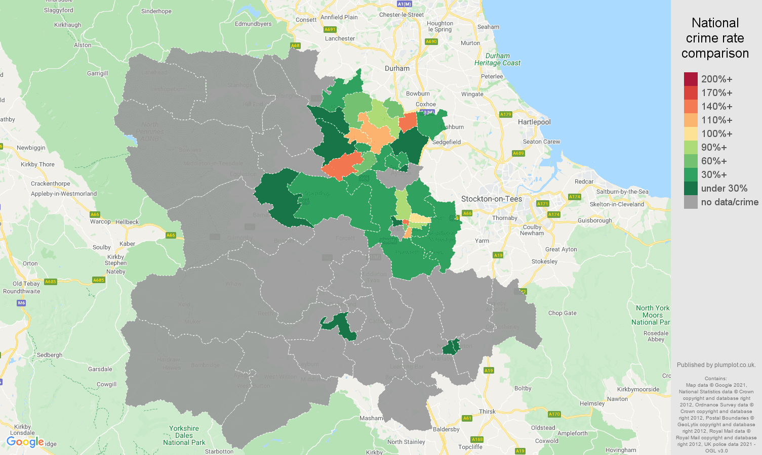 Darlington theft from the person crime rate comparison map