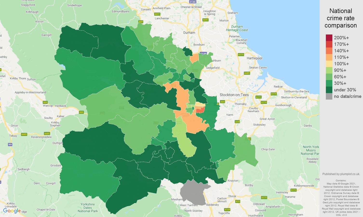 Darlington vehicle crime rate comparison map