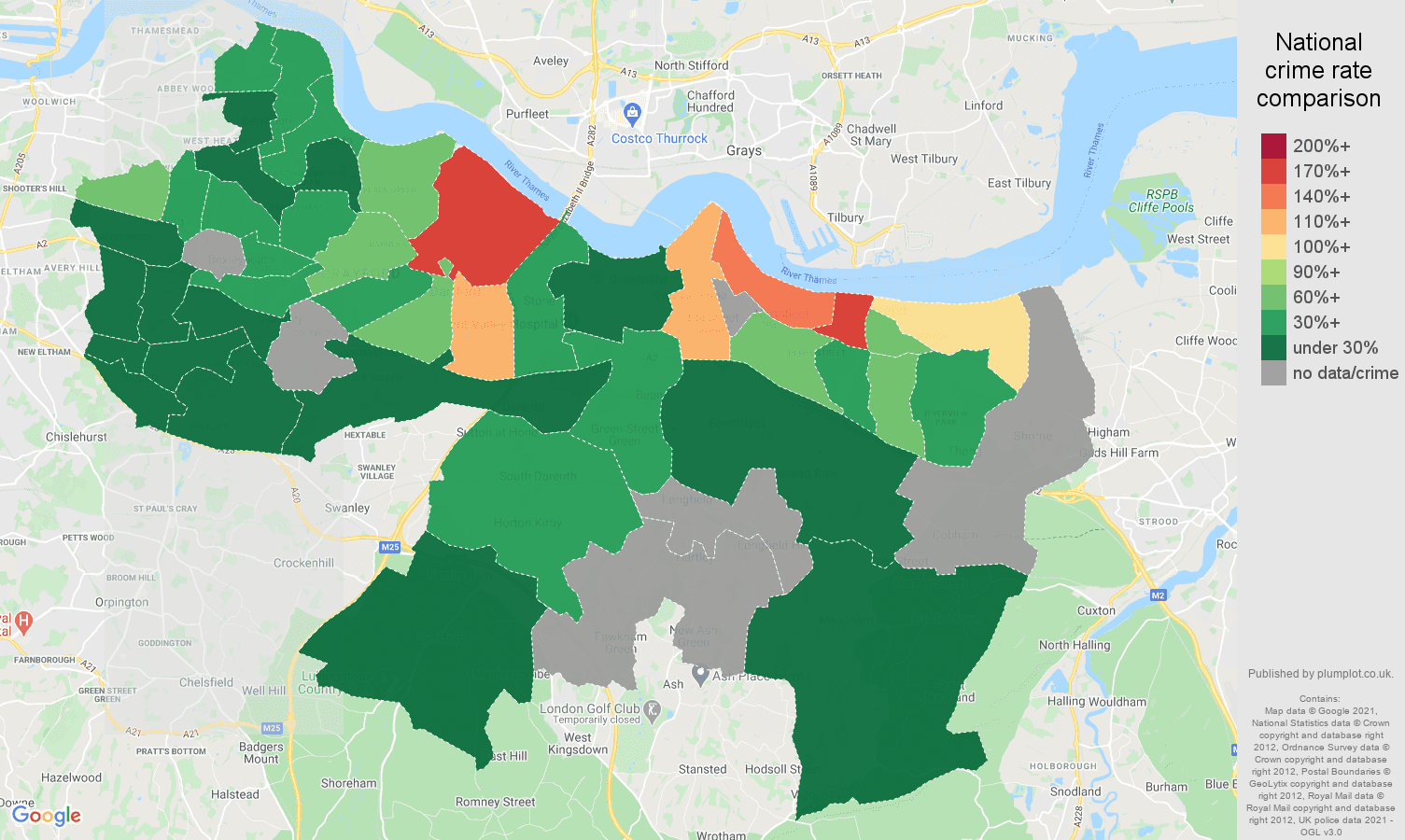 Dartford bicycle theft crime rate comparison map
