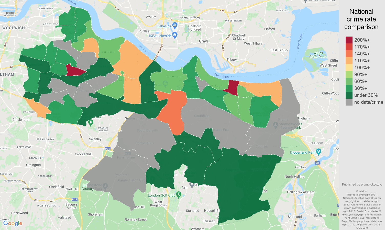 Dartford theft from the person crime rate comparison map