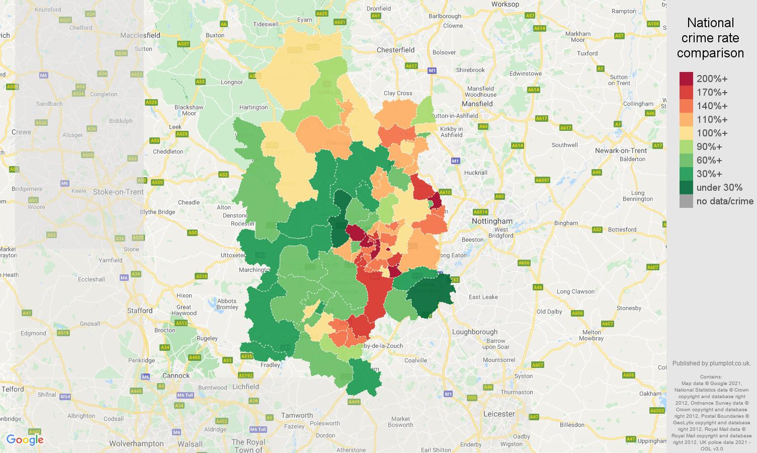 Derby antisocial behaviour crime rate comparison map